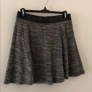 Leather Waist Tweed Skater Skirt